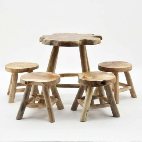PJ_MSL_2605_Children's Table & Stool Set Wooden 4 Seater