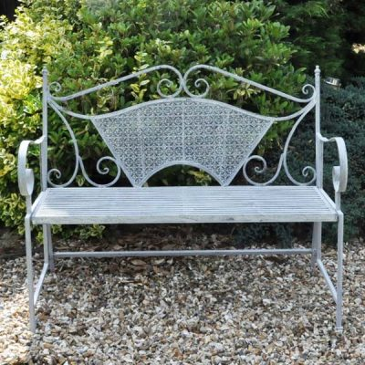PJ_MSL_5308_Sitwell Painted Metal Bench 2 Seater 117cm - Lead Colour - Front view - web