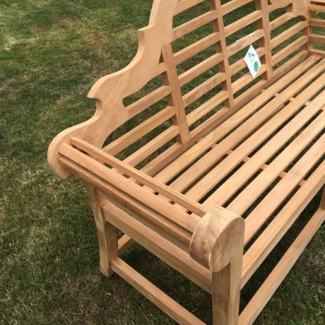 PJ_MSL_RN_5811 Classic Lutyens 3 Seater Teak Bench 168cm Armrest
