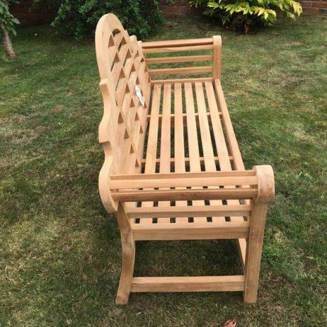 PJ_MSL_RN_5811 Classic Lutyens 3 Seater Teak Bench 168cm Side view