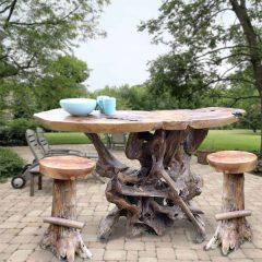 PJ_MAK_MJ586_PJ319 Teak Root Bar Table with 2 bar stools