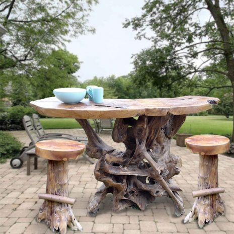 PJ_MAK_MJ586_PJ319 Teak Root Bar Table with 2 bar stools