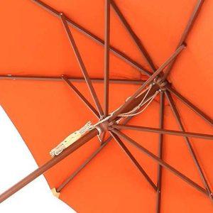 Wainwright 210cm Hardwood Octagonal Garden Parasol - Terracotta Canopy