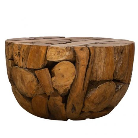 PJ_BB_63WAL - Ofili Reclaimed Teak Root Coffee Table - Round Dome