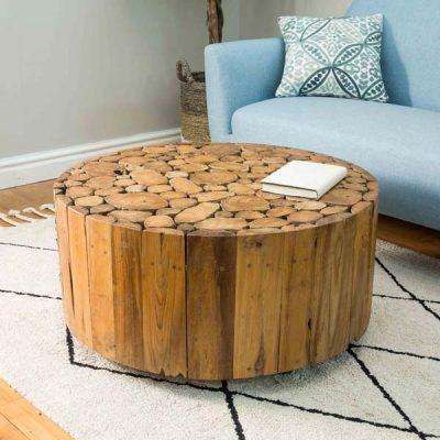 PJ_BB_73WAL_Ofili Reclaimed Teak Root 80cm Round Drum Coffee Table Plus Castors - Optional Glass Top