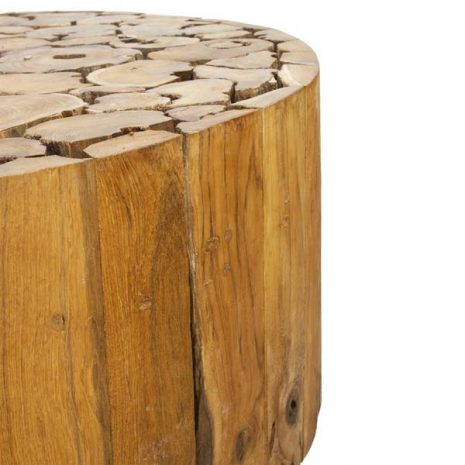 PJ_BB_73WAL_Ofili Reclaimed Teak Root 80cm Round Drum Coffee Table - Side close up