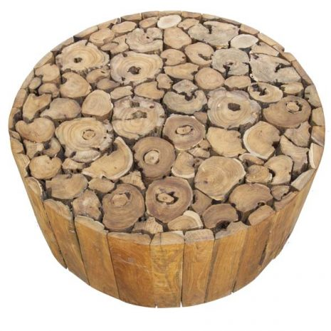 PJ_BB_73WAL_Ofili Reclaimed Teak Root Round Drum Coffee Table Plus Castors