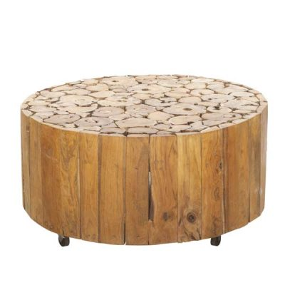 PJ_BB_73WAL_Ofili Reclaimed Teak Root Round Drum Coffee Table Plus Castors - Optional Glass Top - Front & top view