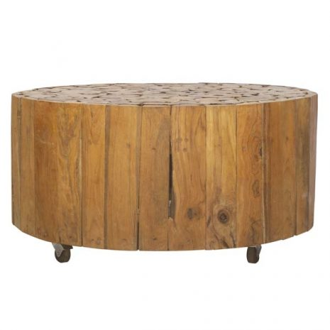 PJ_BB_73WAL_Ofili Reclaimed Teak Root Round Drum Coffee Table Plus Castors - Optional Glass Top - Front view