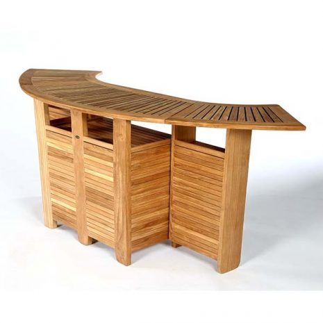 PJ_MSL_5836 Tahiti Curved Teak Bar Table - three quarter view