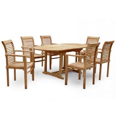 PJ_MSL_5841 Oswald Oval Teak Extending Table 210cm - Table only