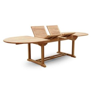PJ_MSL_5842 Oswald Oval Teak Extending Table 240cm - Folding Sections