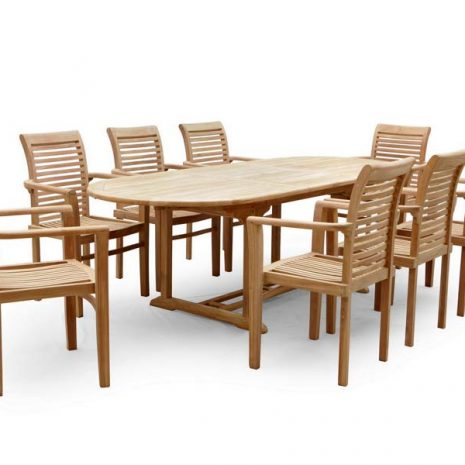PJ_MSL_5842 Oswald Oval Teak Extending Table 240cm - Table only