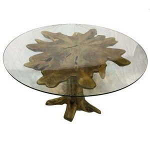 Raja 120cm Teak Root Dining Table - Mushroom shaped - single leg