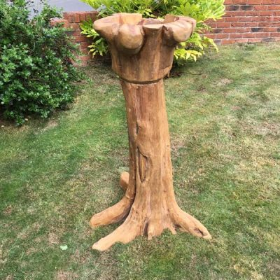 Giant Teak Root Bird Bath 120cm - side view