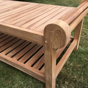 Lutyens Teak Coffee Table 136cm - End Close Up