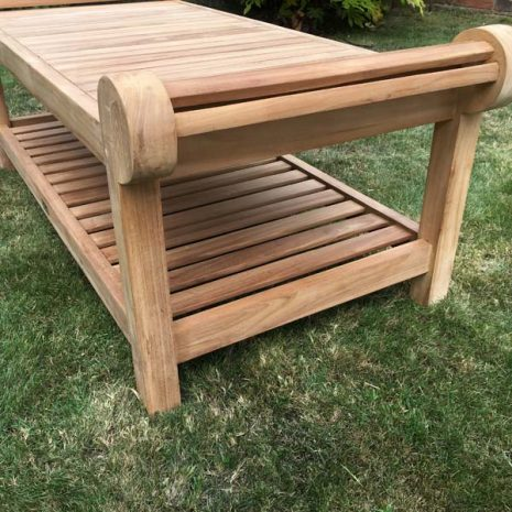 Lutyens Teak Coffee Table 136cm - End View