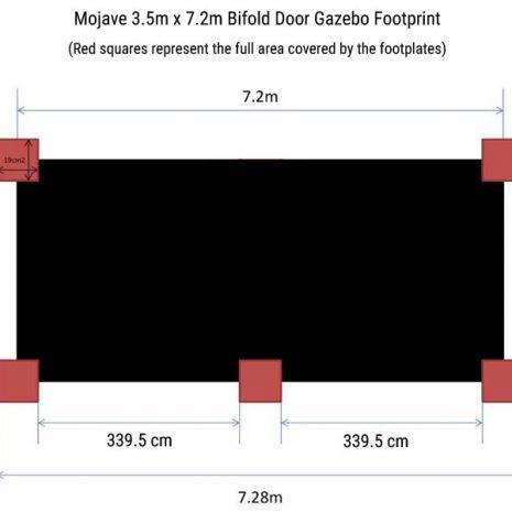 Mojave 350 x 720cm Bifold Door Gazebo Footprint Dimensions