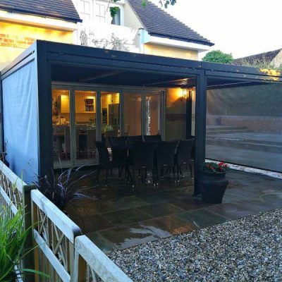 Mojave Large Metal Bifold Door Gazebo with Side Screens