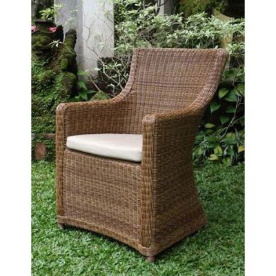Scarborough Armchair in Natural Rattan with Sandstone Cushion