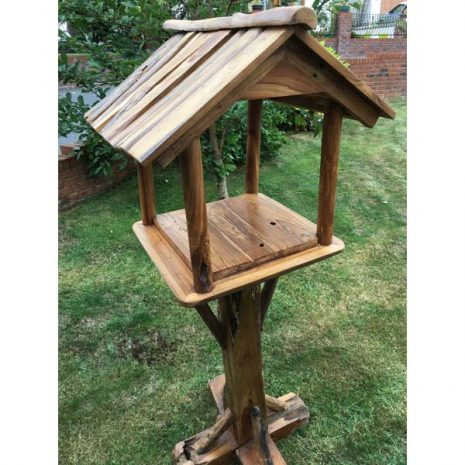 Teak Root Bird Table Feeding Station Three Quarter View