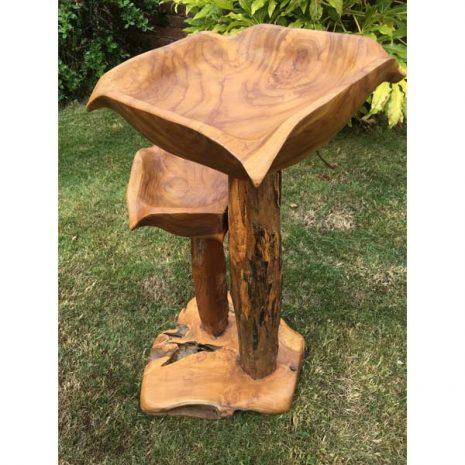 Teak Root Double Bird Bath 80cm tall PJ_MAK_MJ587