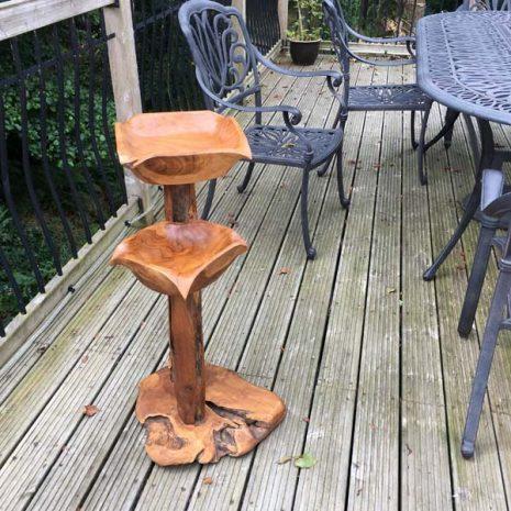 Teak Root Double Bird Bath Bird Feeding station