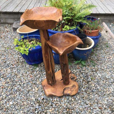 Teak Root Double Bird Bath - Bird Feeding station - Garden Ornament