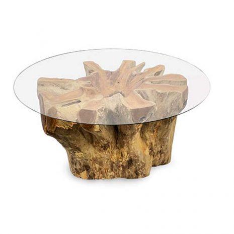 Batu 90cm Circular Teak Root Trunk Coffee Table