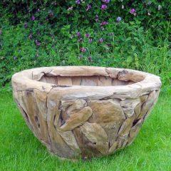 Giant Teak Root Round Garden Planter 80cm