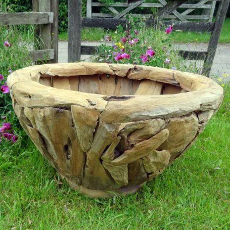 Giant Teak Root Round Garden Planter 80cm H45cm