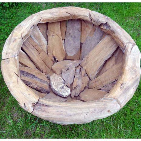 Giant Teak Root Round Garden Planter 80cm Interior View