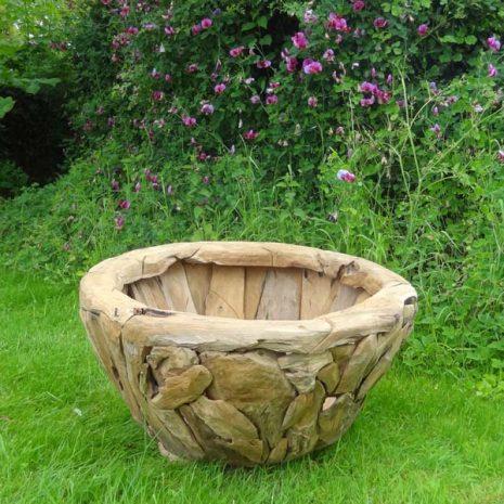 Giant Teak Root Round Garden Planter 80cm diameter