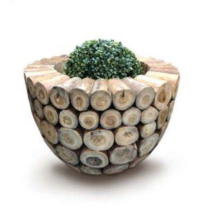 Large Round Teak Root Garden Planter 60cm