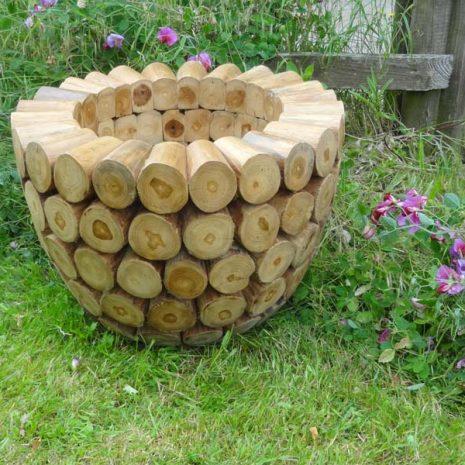 Large Round Teak Root Garden Planter 60cm Side View