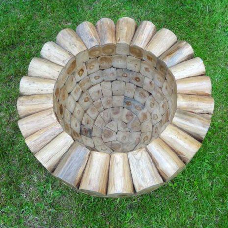 Large Round Teak Root Garden Planter 60cm Top