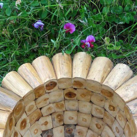 Large Round Teak Root Garden Planter 60cm - rim