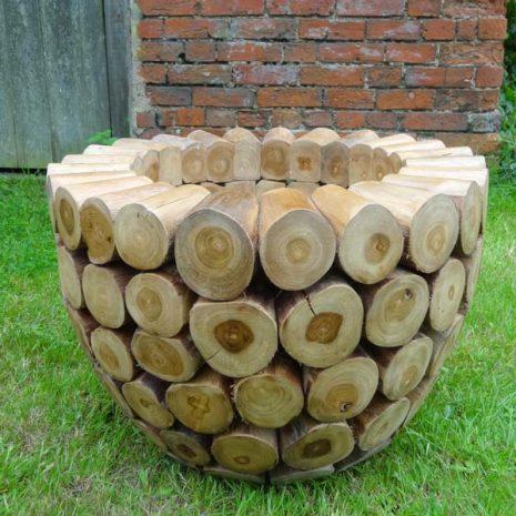 Large Round Teak Root Garden Planter Concentric Log design
