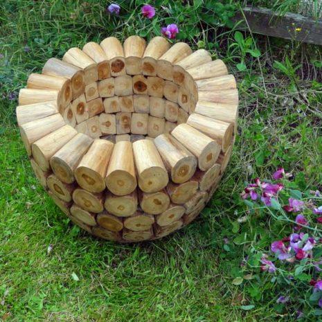 Large Round Teak Root Garden Planter Dia 60cm H45cm