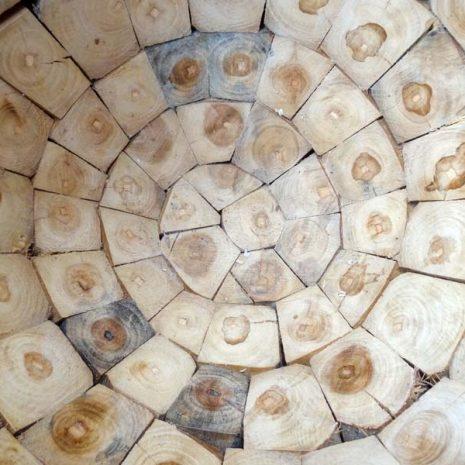 Large Round Teak Root Garden Planter Interior