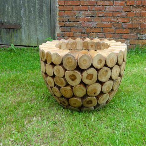 Large Round Teak Root Garden Planter W60cm D60cm H45cm