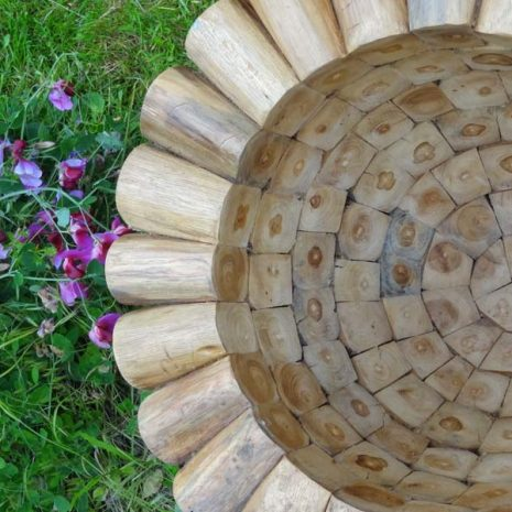 Large Round Teak Root Garden Planter from above
