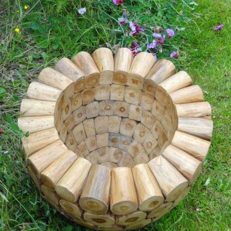 Large Round Teak Root Garden Planter - top