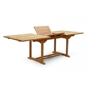PJ_MSL_5839 Oswald Extra Large Rectangular Teak Extending Table 3m showing folding panels