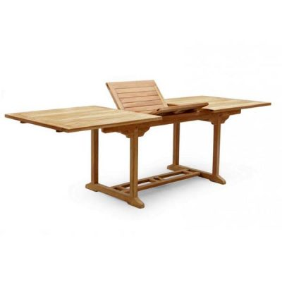 PJ_MSL_5840 Oswald Rectangular Teak Extending Table 240cm showing folding panels