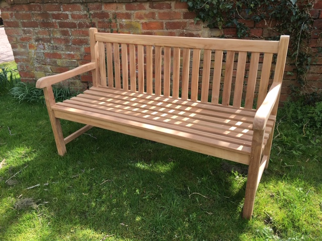 Red Oak Kitchen Table, Straight Back Teak Garden Bench 3 Seater 150cm Shire Rattan And Teak