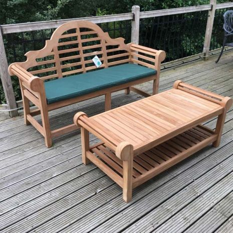 Classic Lutyens Teak Bench Coffee Table Set