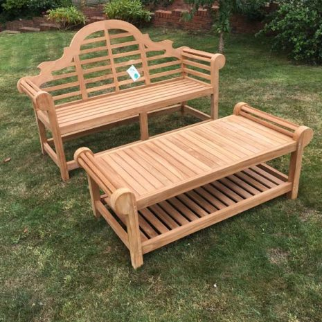 Classic Lutyens Teak Bench Coffee Table Set - No cushion