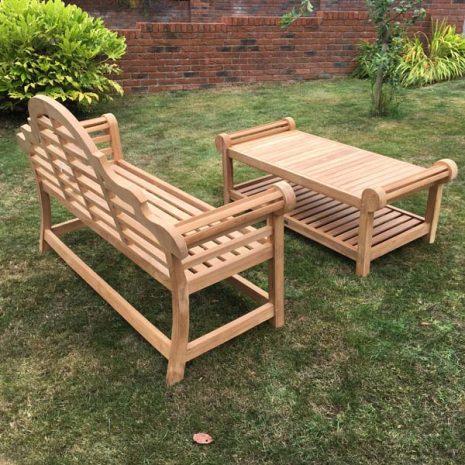 Classic Lutyens Teak Bench Coffee Table Set - Rear Side view