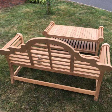 Classic Lutyens Teak Bench Coffee Table Set - Rear view